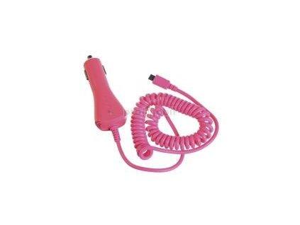CL autonabíječka CELLY s konektorem microUSB, 1A, růžová, blister