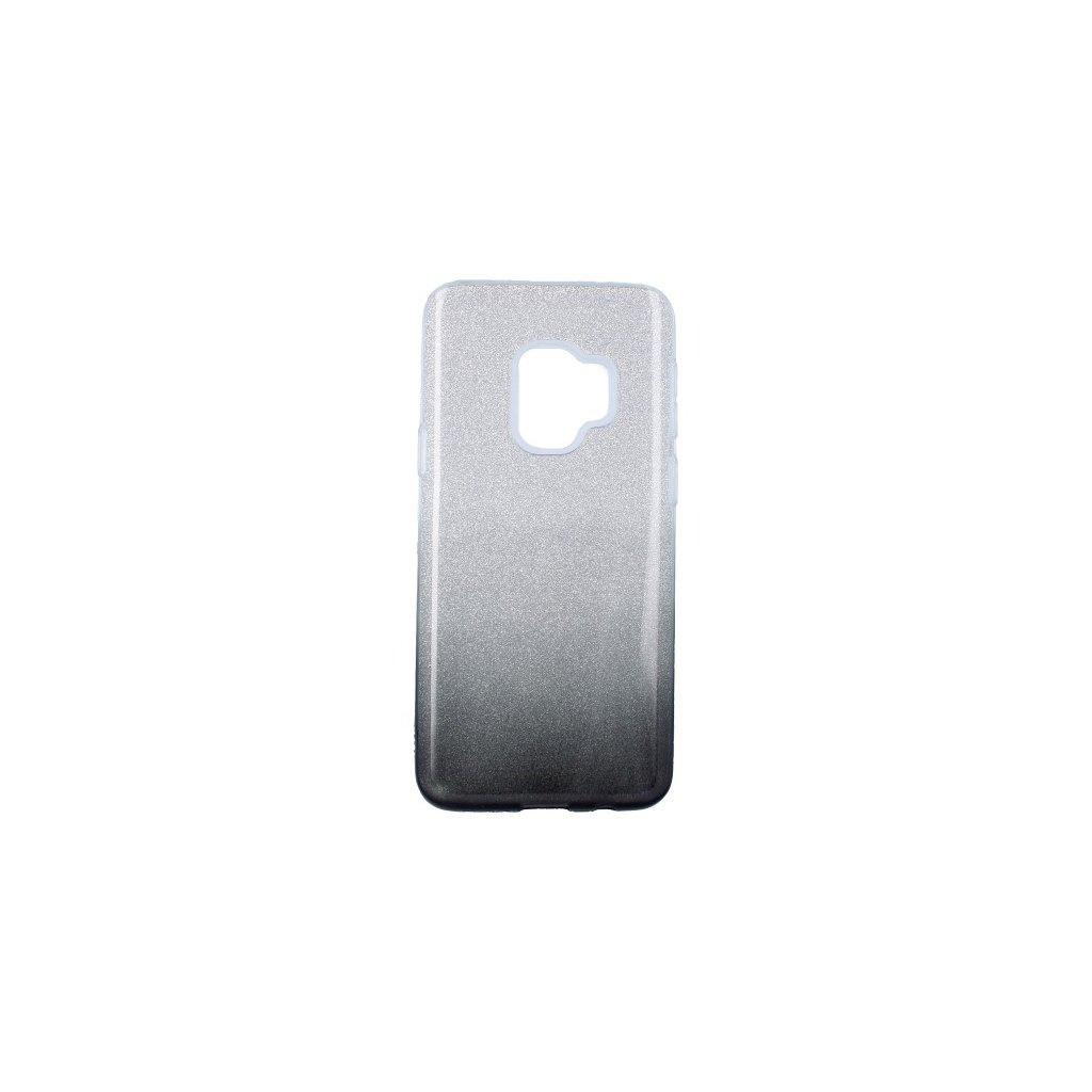 Zadný pevný kryt na Samsung S9 glitter strieborno-čierny