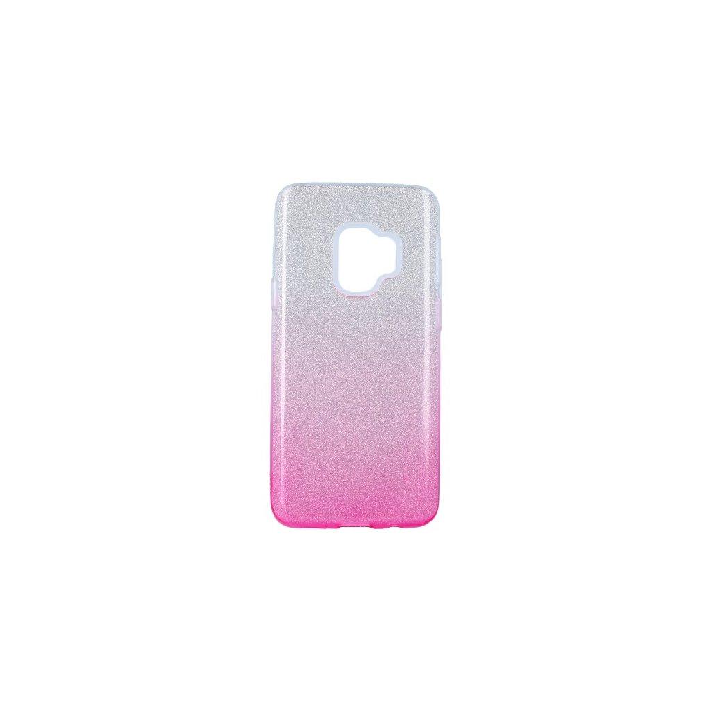 Zadný pevný kryt na Samsung S9 glitter strieborno-ružový