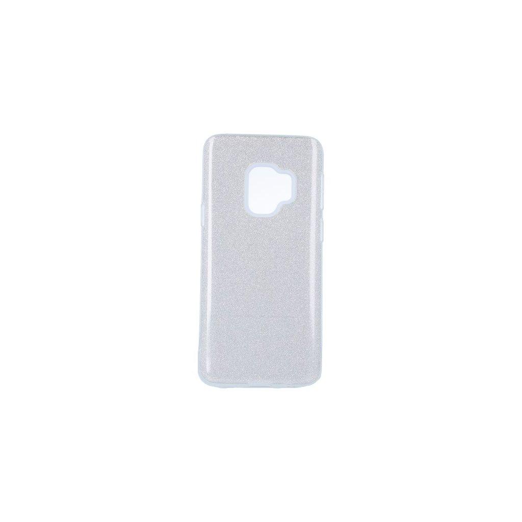 Zadný pevný kryt na Samsung S9 glitter strieborný