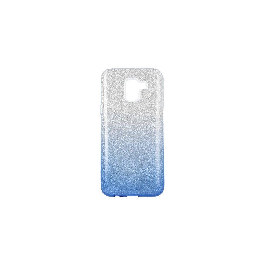 Zadný pevný kryt Forcell na Samsung J6 glitter strieborno-modrý