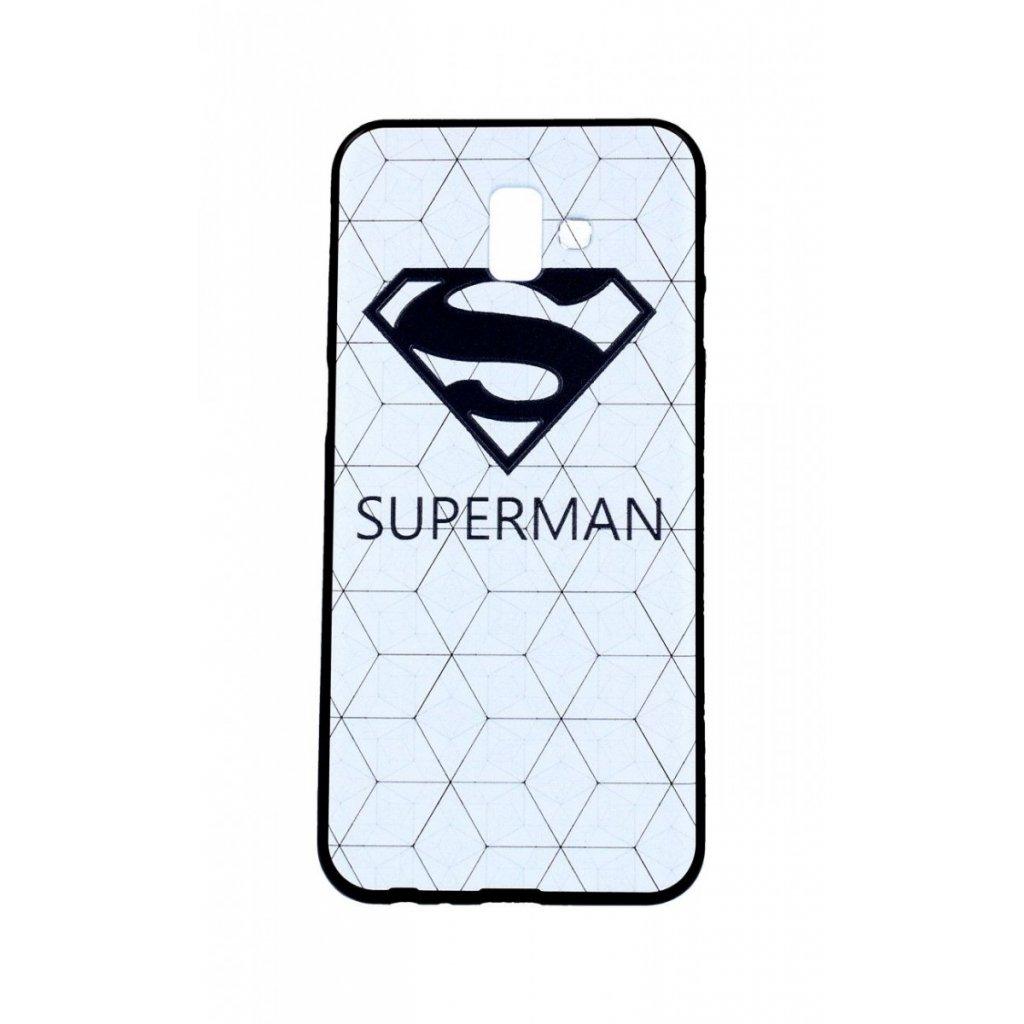 Zadný 3D silikónový kryt na Samsung J6 + Biely Superman