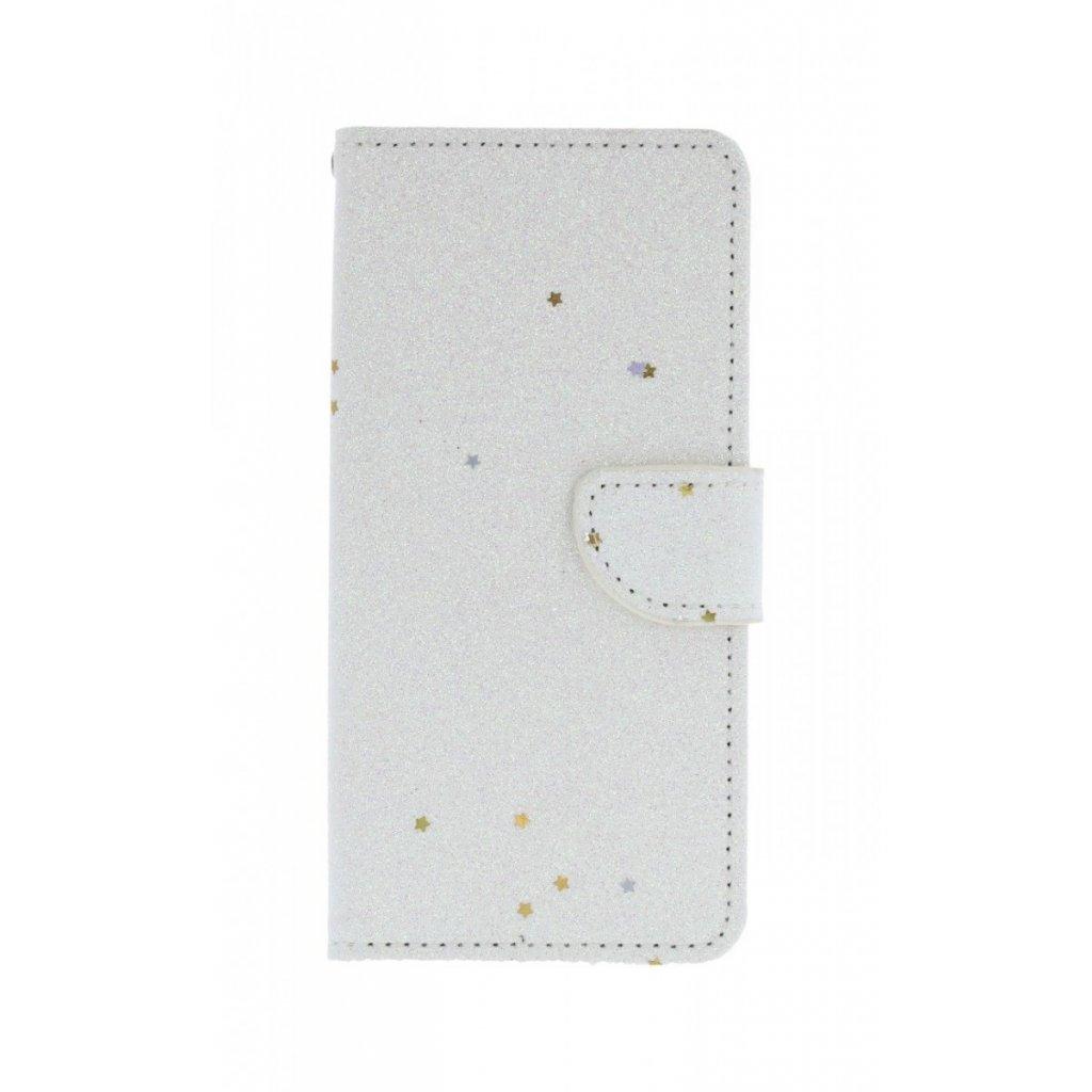 Flipové puzdro na Samsung J6 glitter biele s hviezdičkami