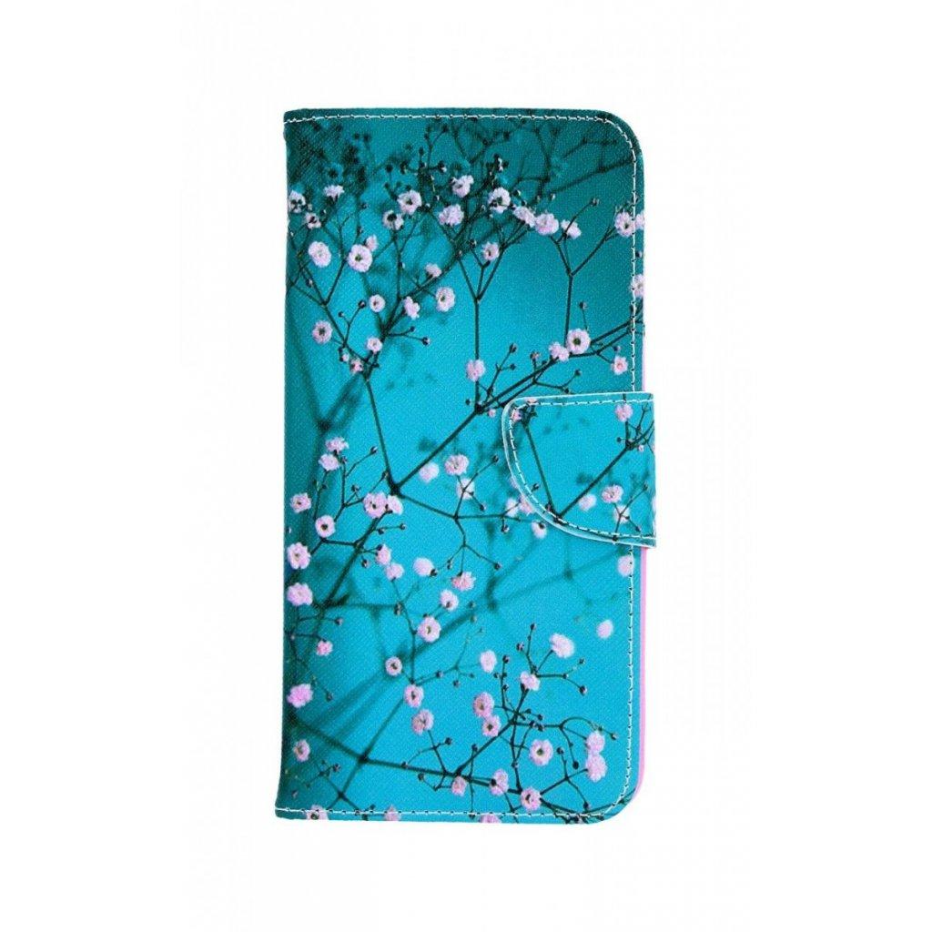 Flipové puzdro na Samsung J6 + Modré s kvetmi