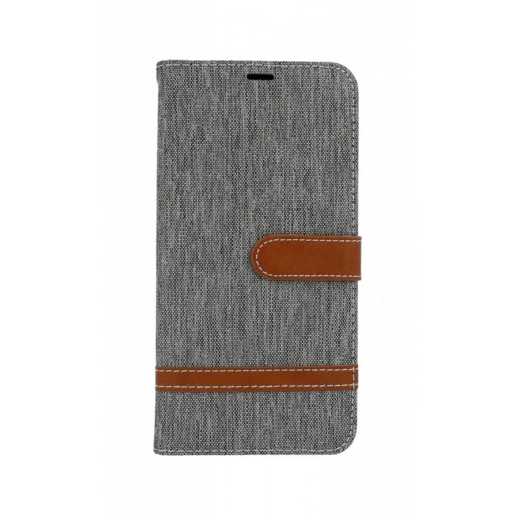 Flipové puzdro na Samsung J6 + džínsové sivé