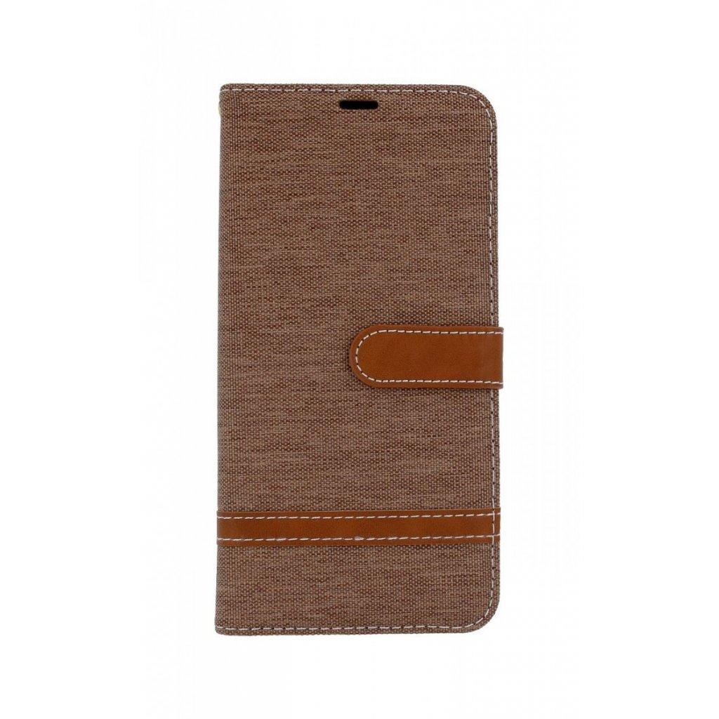 Flipové puzdro na Samsung J6 + džínsové hnedé