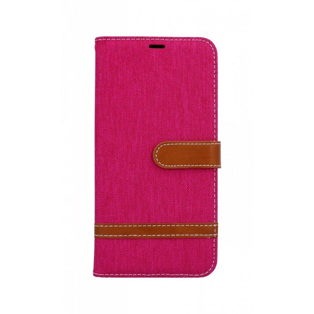 Flipové puzdro na Samsung J6 + džínsové ružové