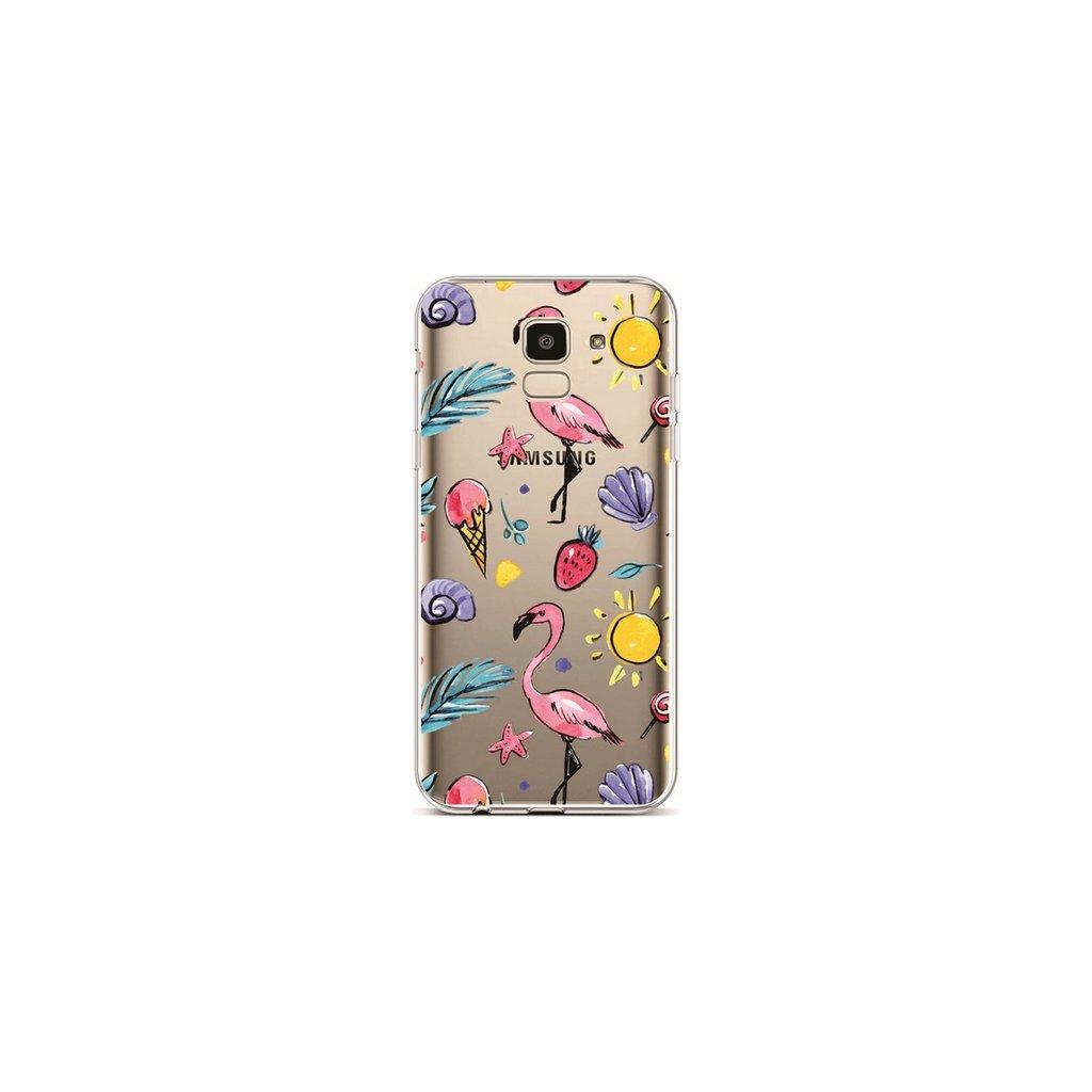 Zadný silikónový kryt na Samsung J6 Summer Flamingos