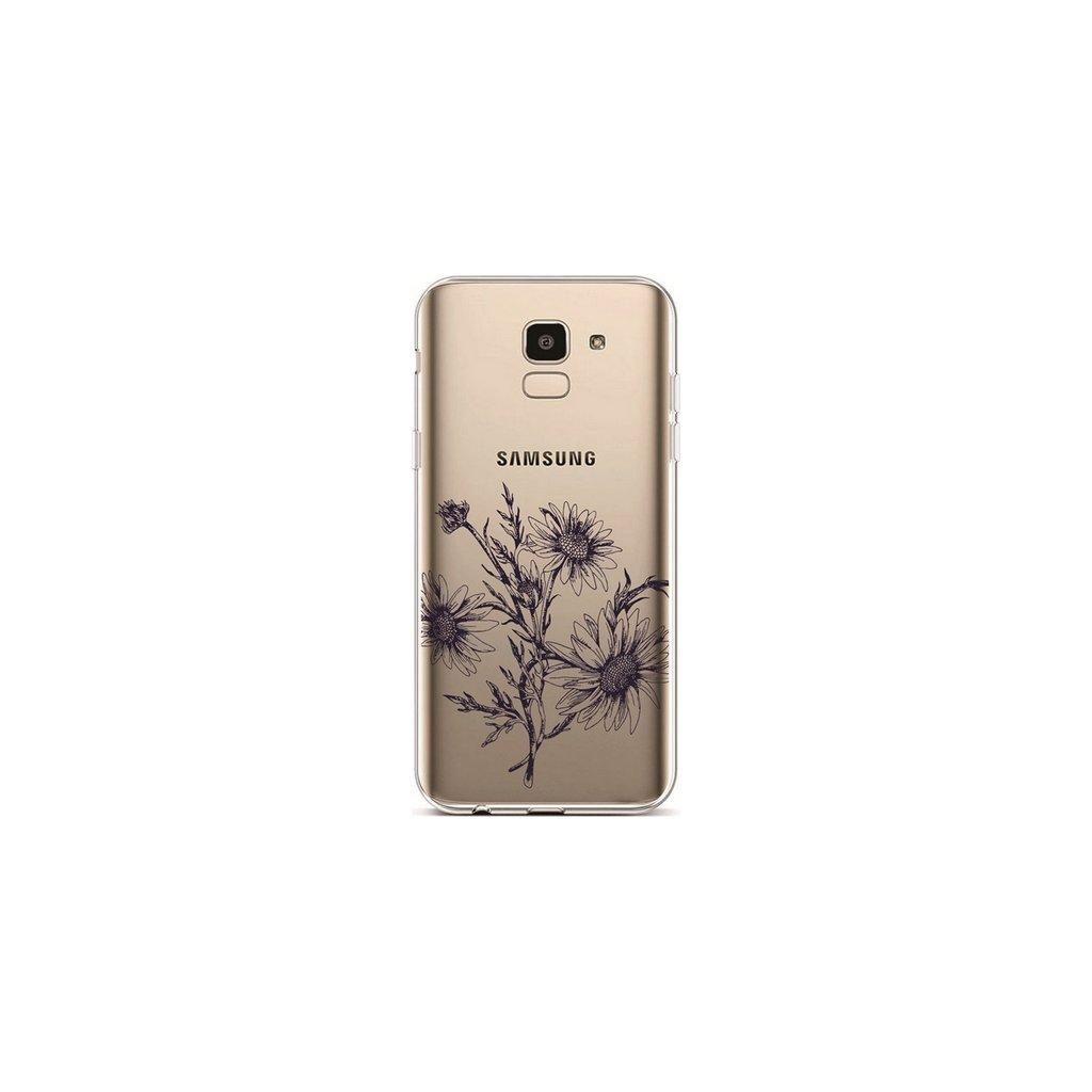 Zadný silikónový kryt na Samsung J6 Black Daisy