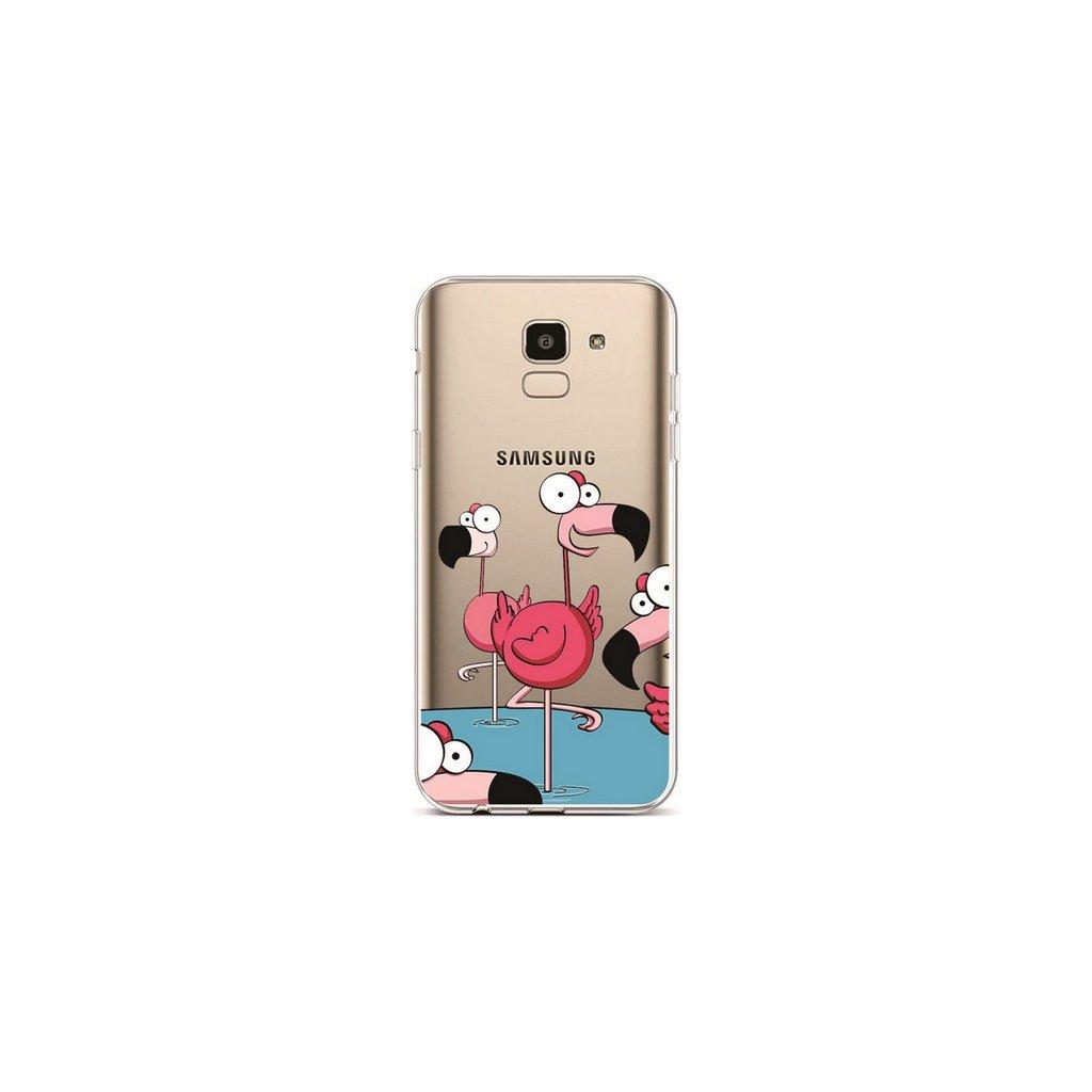 Zadný silikónový kryt na Samsung J6 Cartoon Flamingos