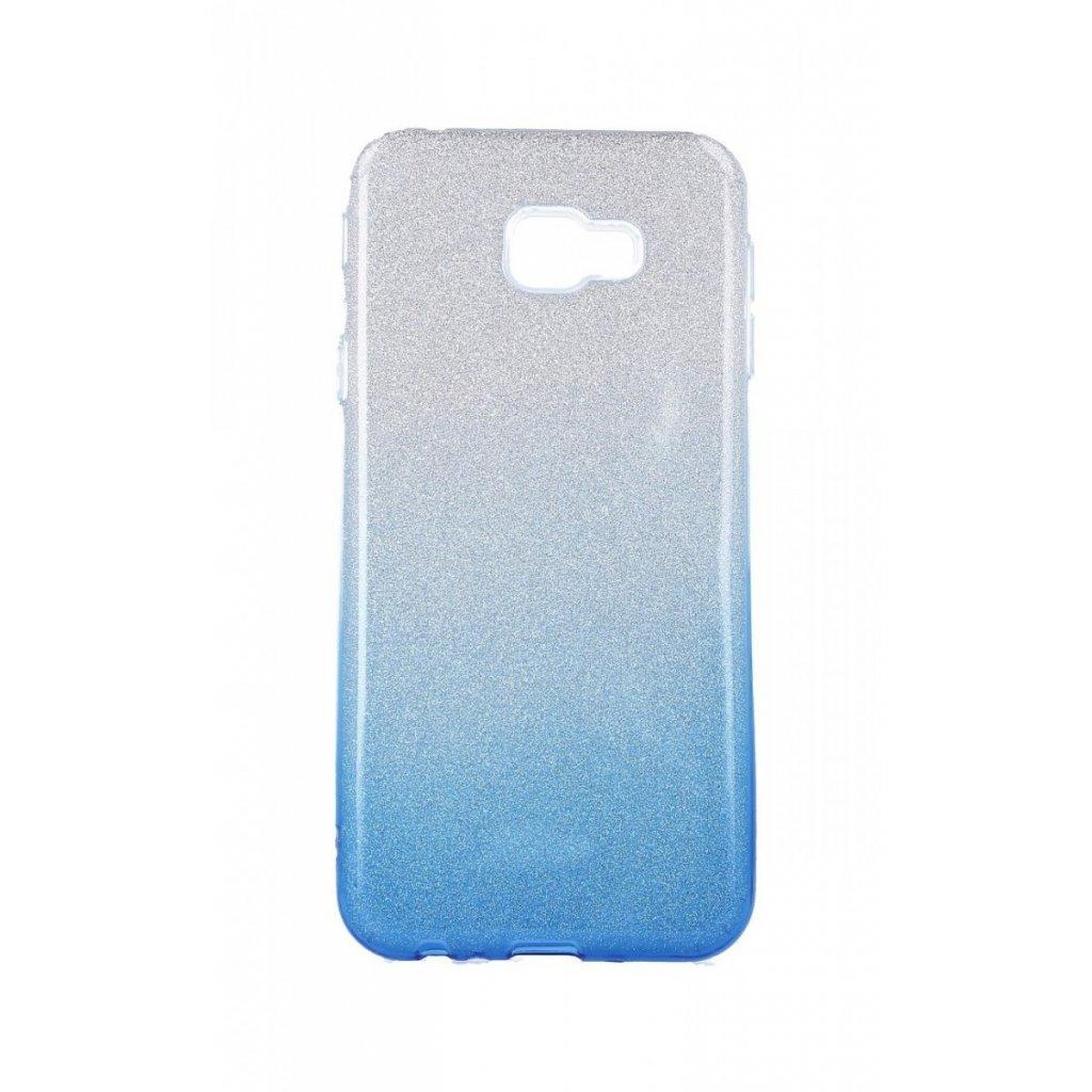 Zadný silikónový kryt na Samsung J4 + glitter strieborno-modrý
