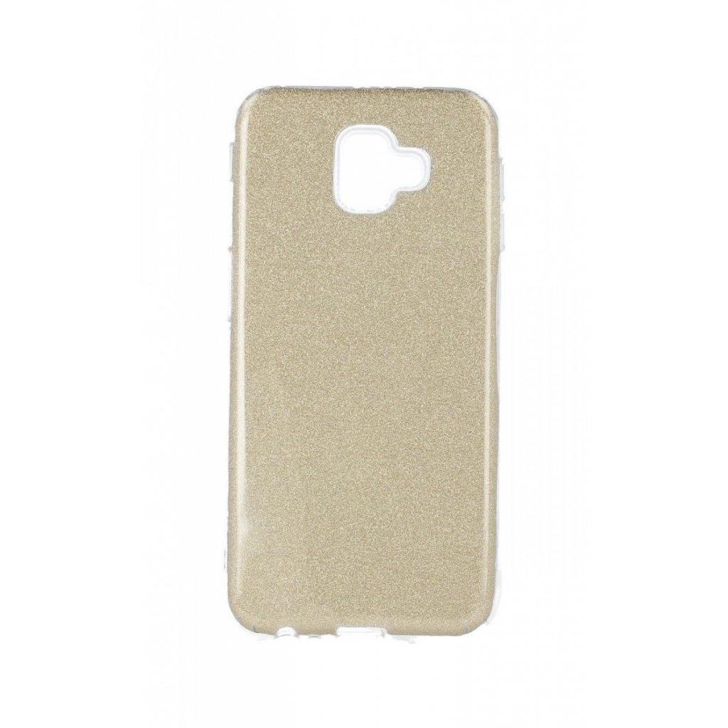 Zadný silikónový kryt na Samsung J6 + glitter zlatý