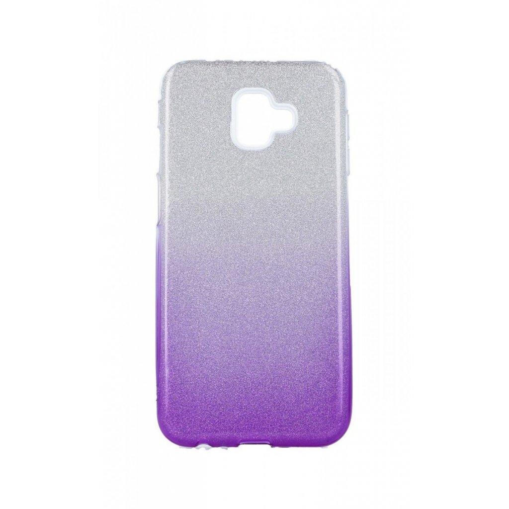Zadný silikónový kryt na Samsung J6 + glitter strieborno-fialový