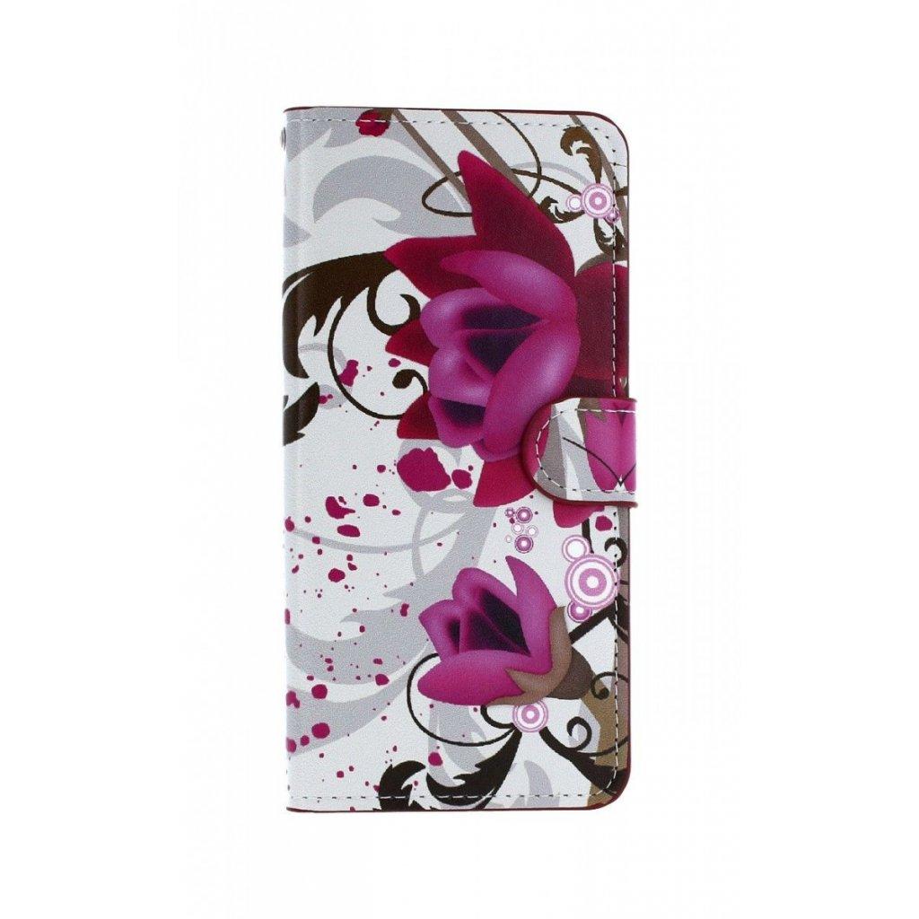 Flipové puzdro na Samsung J6 + Biele s kvetinou