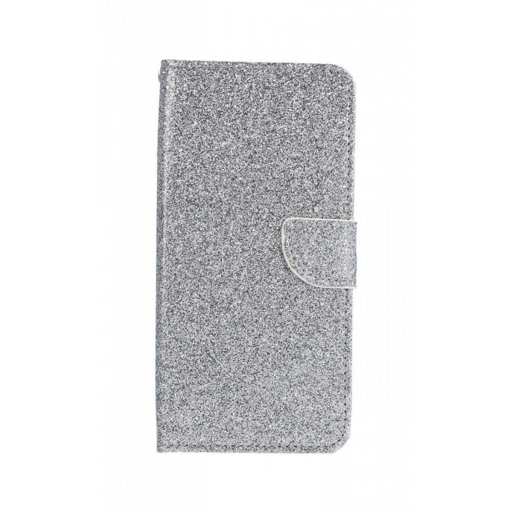 Flipové puzdro na Samsung J4 + glitter strieborné