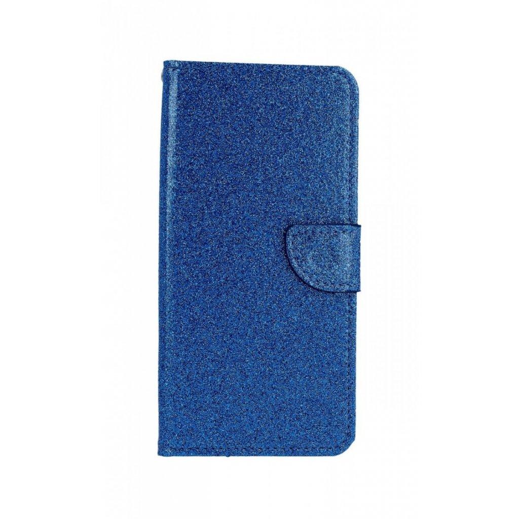 Flipové puzdro na Samsung J4 + glitter modré