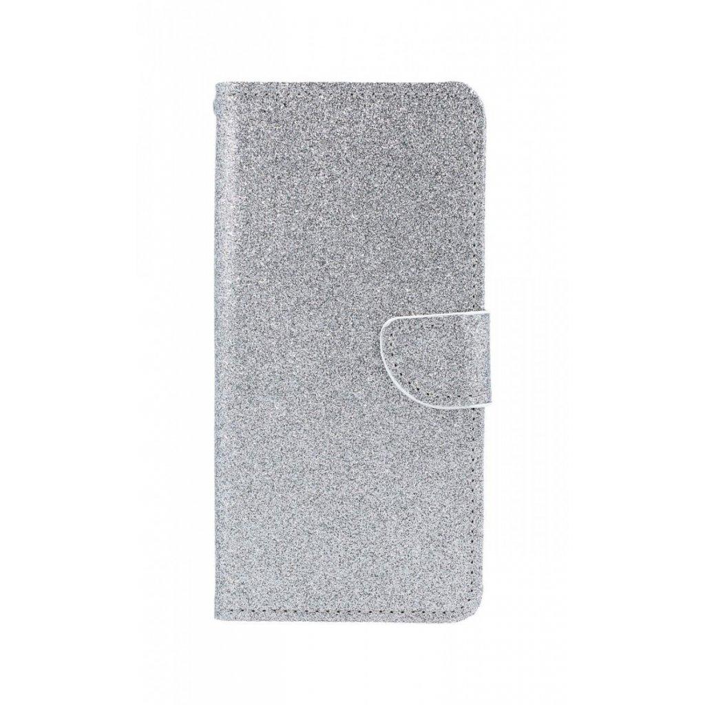 Flipové puzdro na Samsung J6 + glitter strieborné
