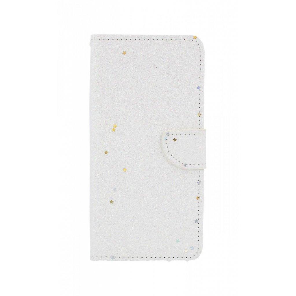 Flipové puzdro na Samsung J6 + glitter biele s hviezdičkami