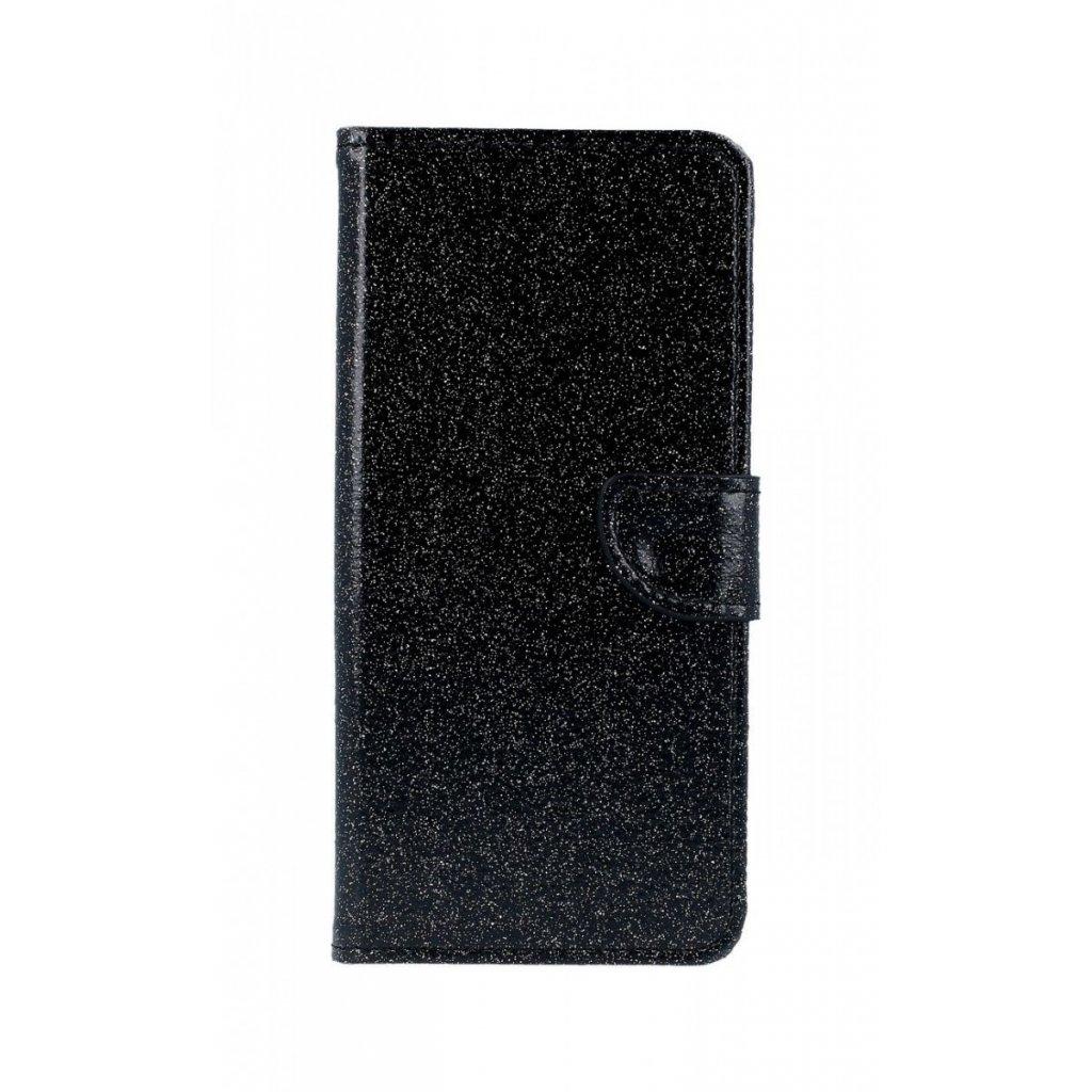 Flipové puzdro na Samsung J6 + glitter čierne