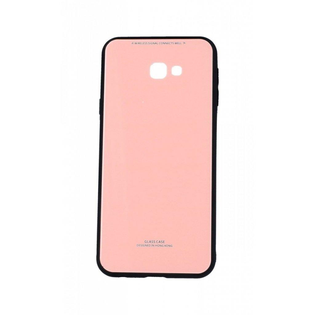 Zadný pevný kryt GLASS na Samsung J4 + ružový