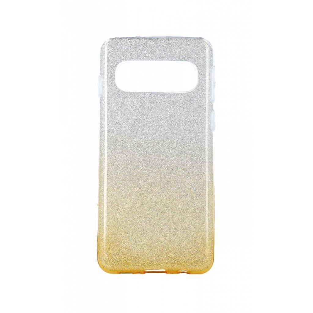 Zadný pevný kryt na Samsung S10 glitter strieborno-oranžový