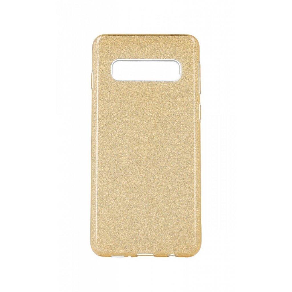 Zadný pevný kryt na Samsung S10 glitter zlatý
