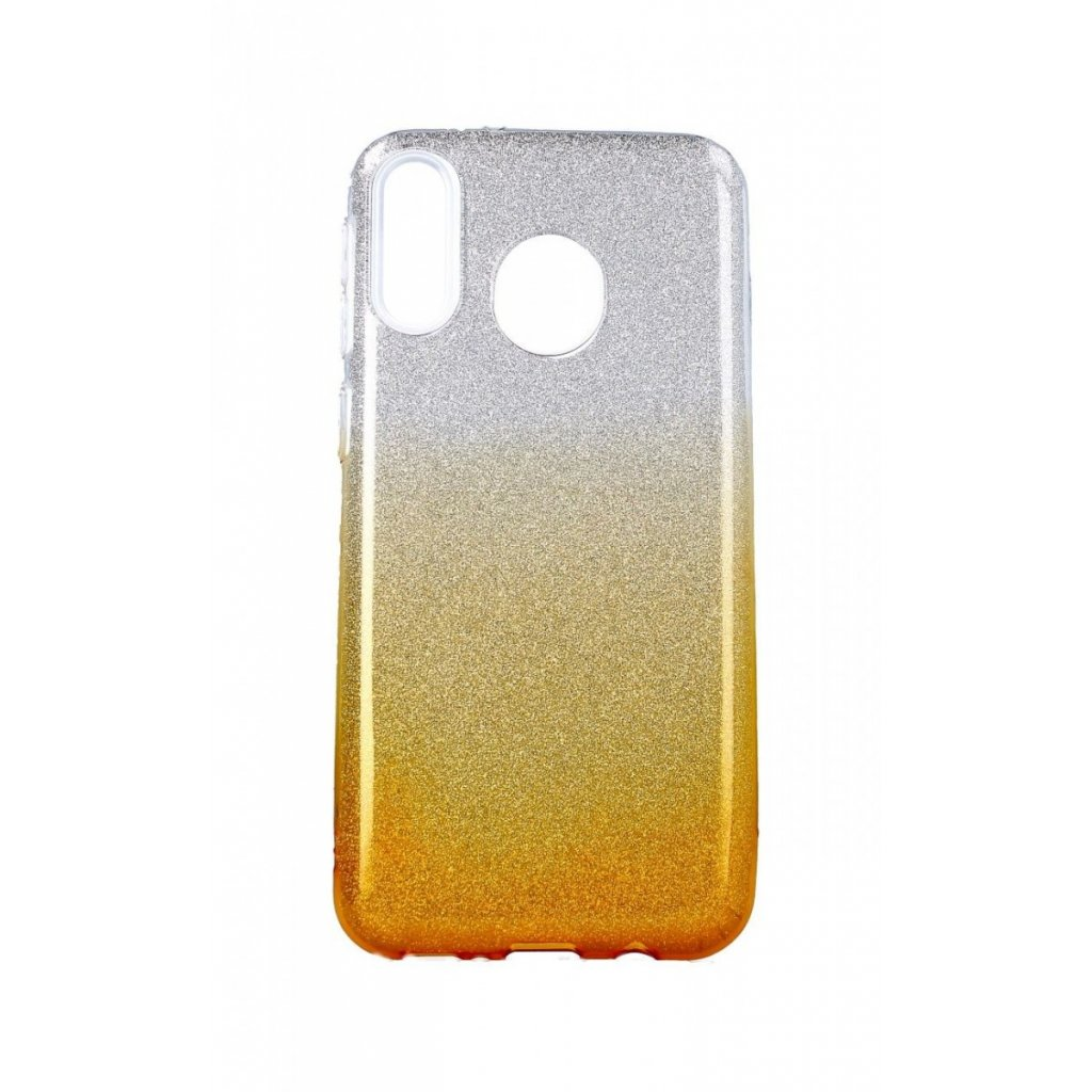 Zadný pevný kryt na Samsung M20 glitter strieborno-oranžový