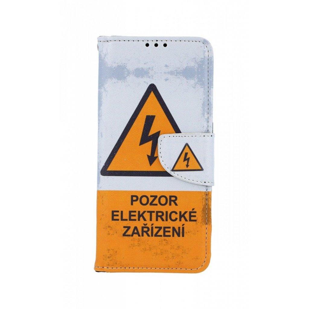 Flipové puzdro na Samsung A70 Pozor elektrické zariadenie