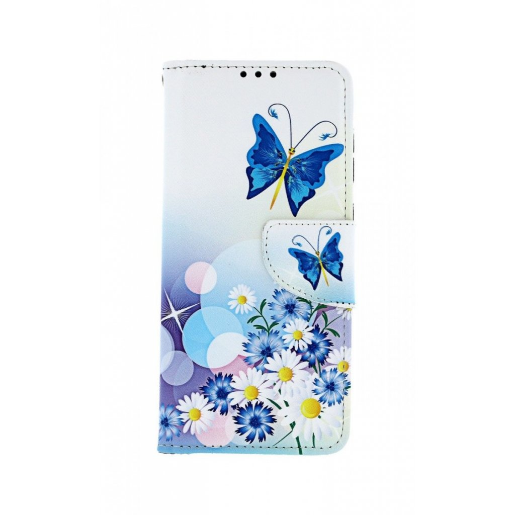 Flipové puzdro na Samsung A50 Biele s motýlikom