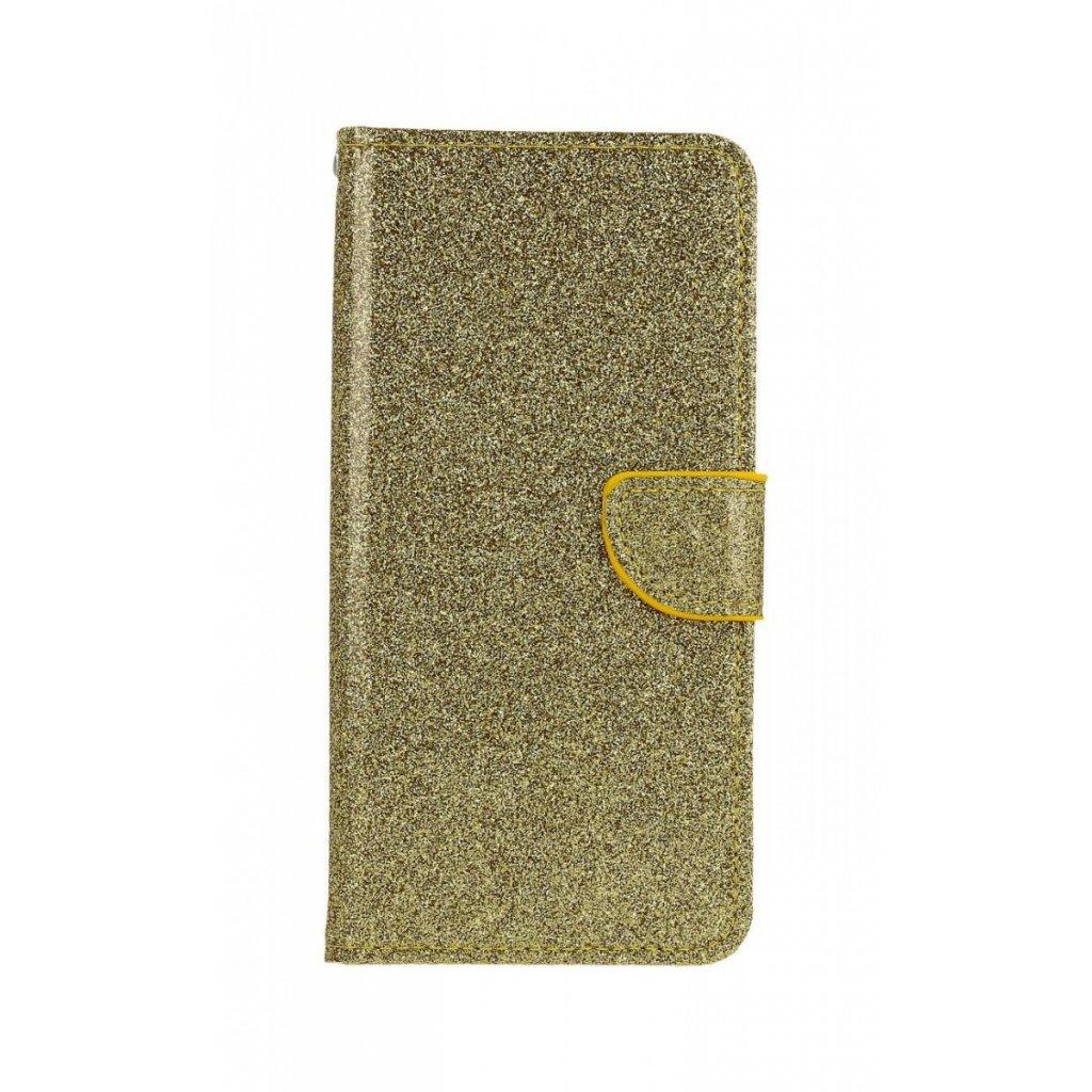 Flipové puzdro na Samsung A50 glitter zlaté