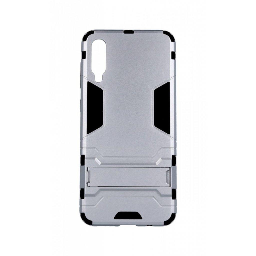 Ultra odolný zadný kryt na Samsung A50 so stojanom strieborný