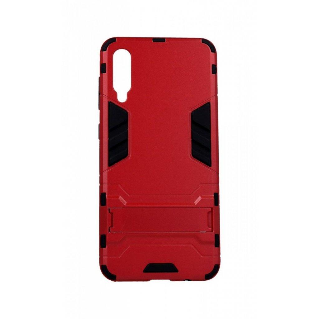 Ultra odolný zadný kryt na Samsung A50 so stojanom červený