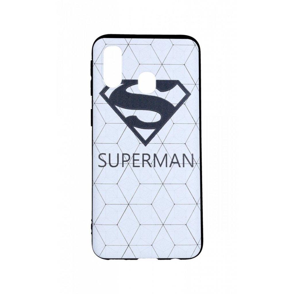 Zadný 3D silikónový kryt na Samsung A40 Biely Superman
