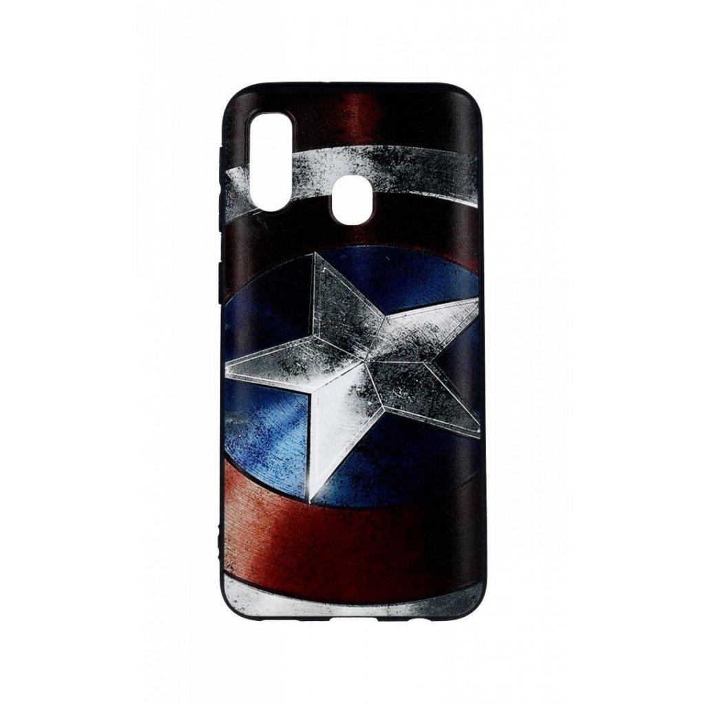 Zadný 3D silikónový kryt na Samsung A40 Captain America