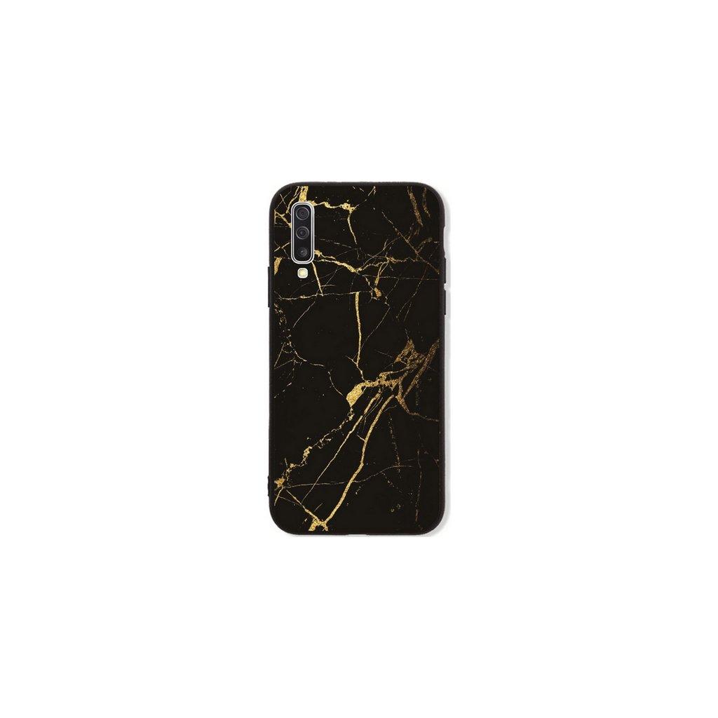 Zadný pevný kryt LUXURY na Samsung A50 Marble čierno-zlatý