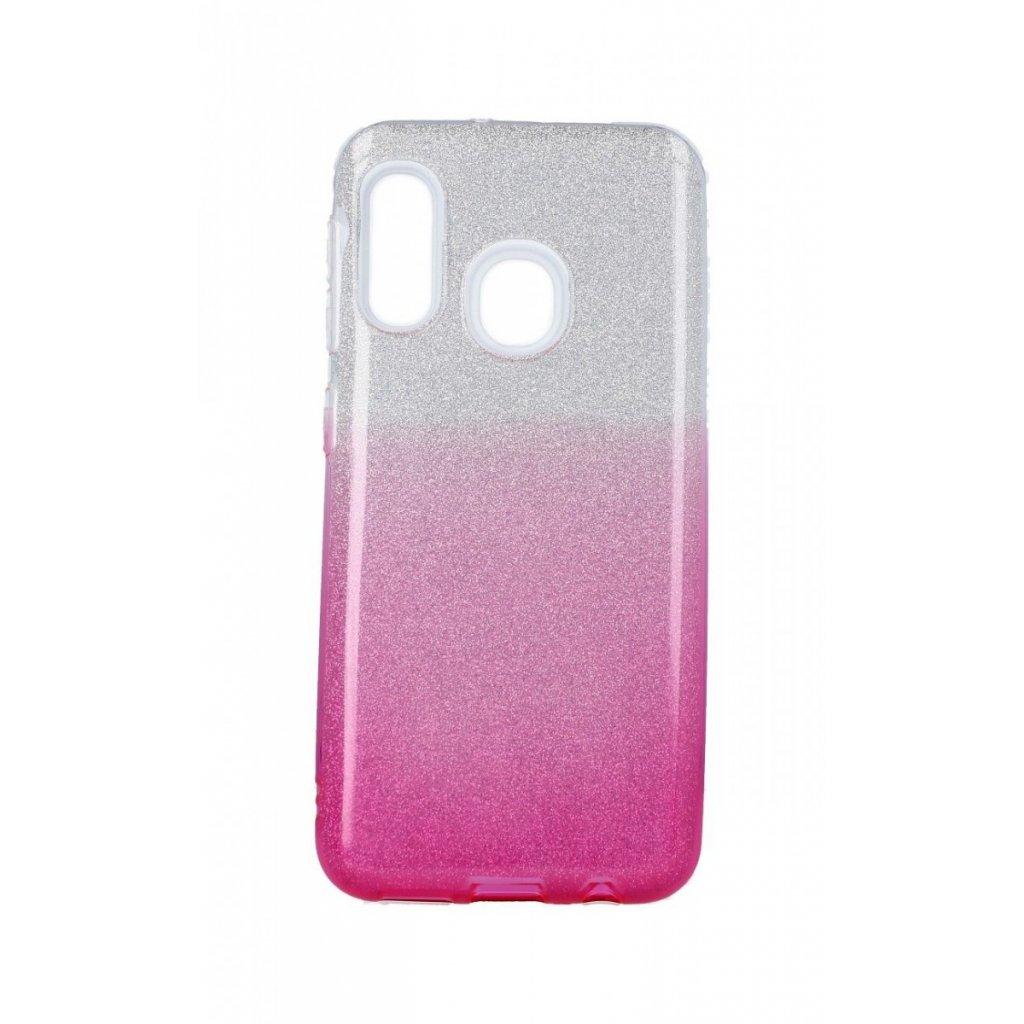 Zadný pevný kryt na Samsung A20e glitter strieborno-ružový