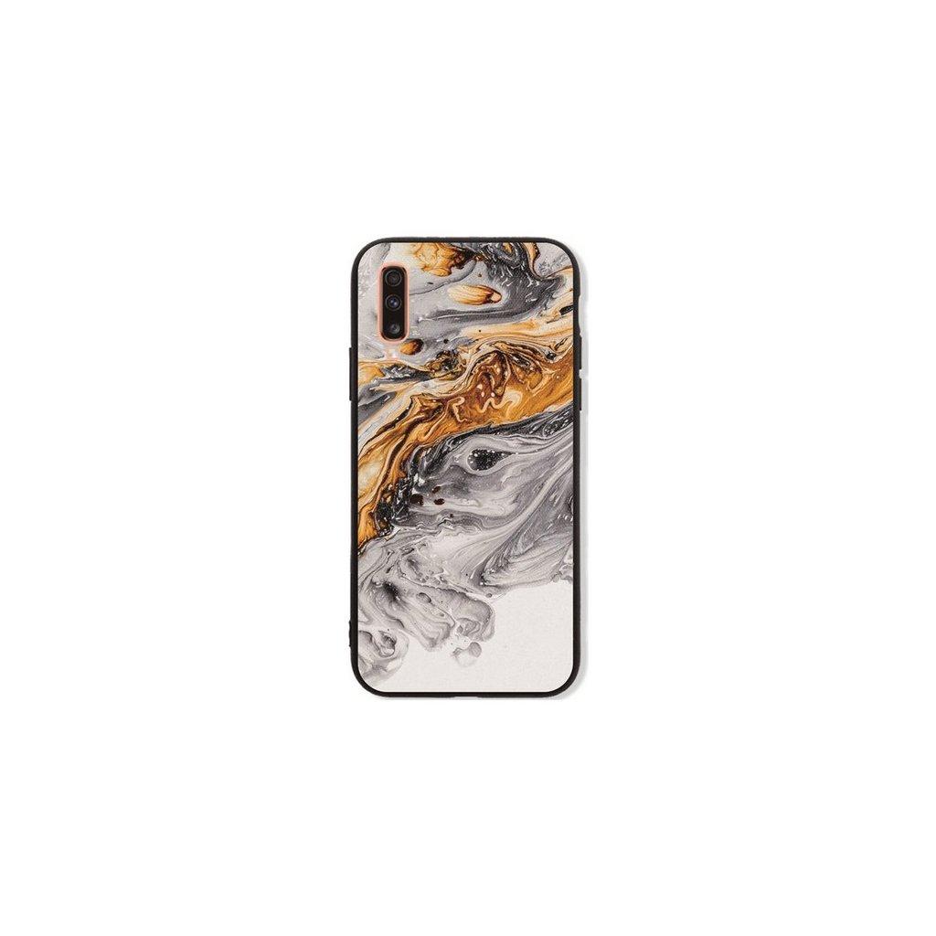 Zadný pevný kryt LUXURY na Samsung A70 Marble šedo-zlatý