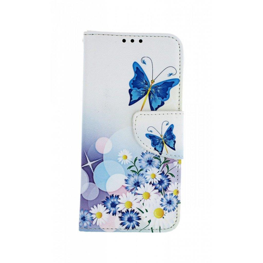 Flipové puzdro na Samsung A40 Biele s motýlikom