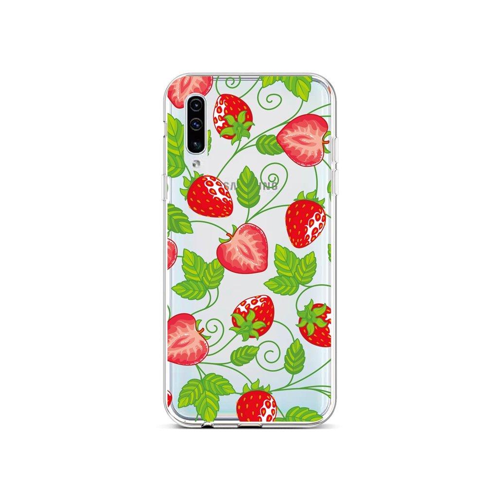 Zadný silikónový kryt na Samsung A50 Strawberries