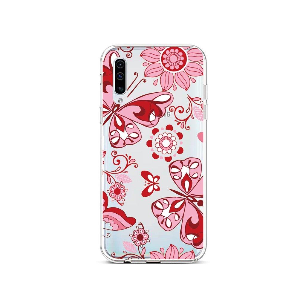 Zadný silikónový kryt na Samsung A50 Pink Butterfly