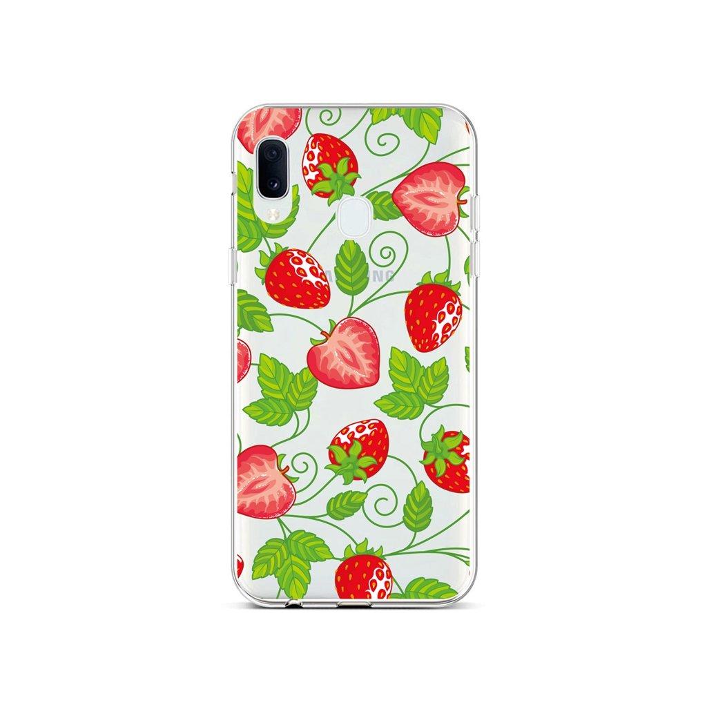 Zadný silikónový kryt na Samsung A40 Strawberries