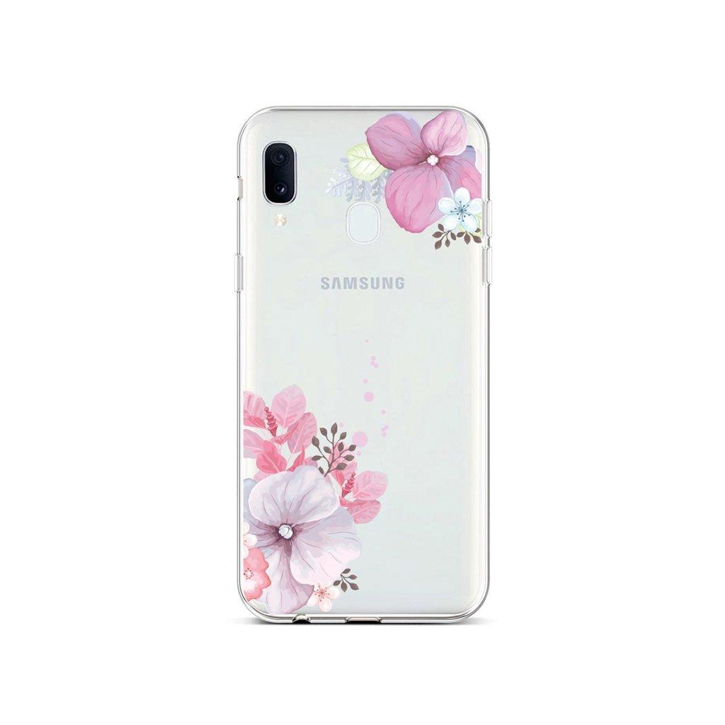 Zadný silikónový kryt na Samsung A20e Violet Blossom