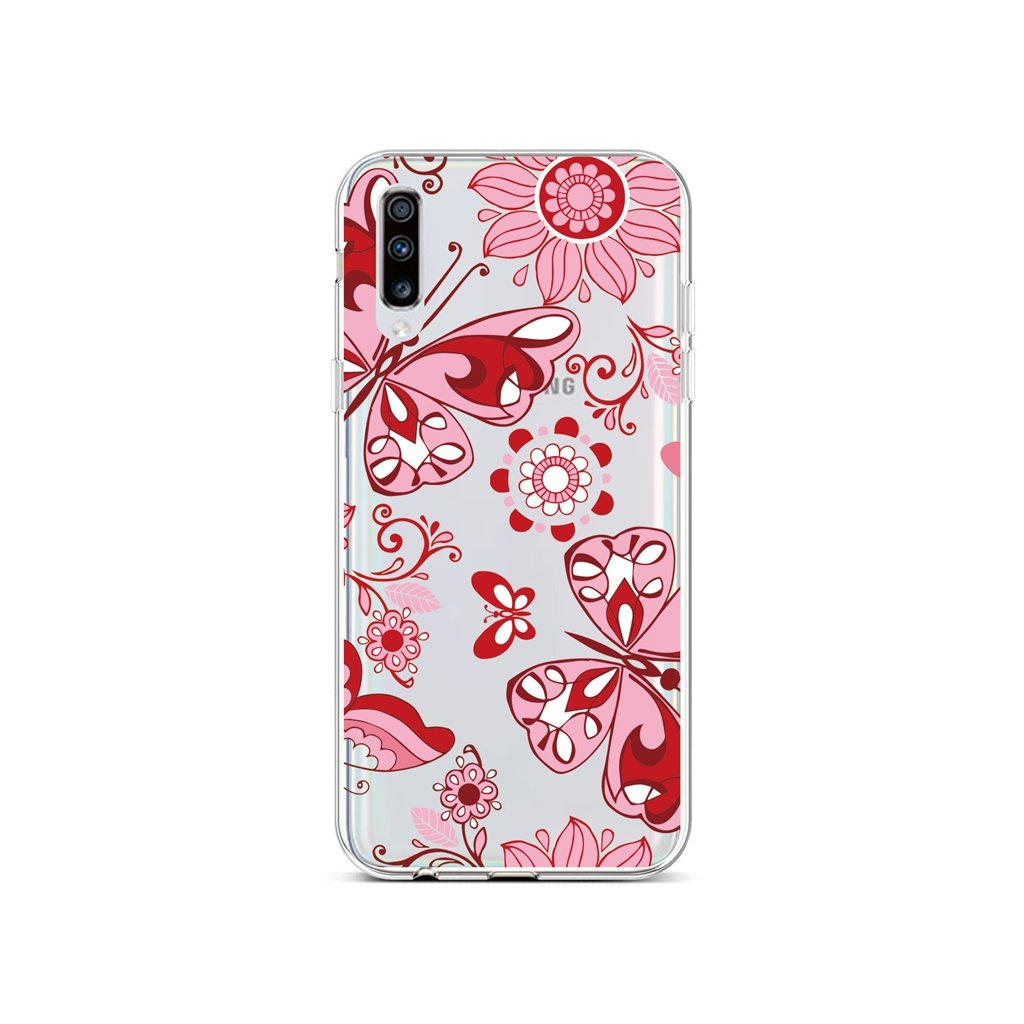 Zadný silikónový kryt na Samsung A70 Pink Butterfly