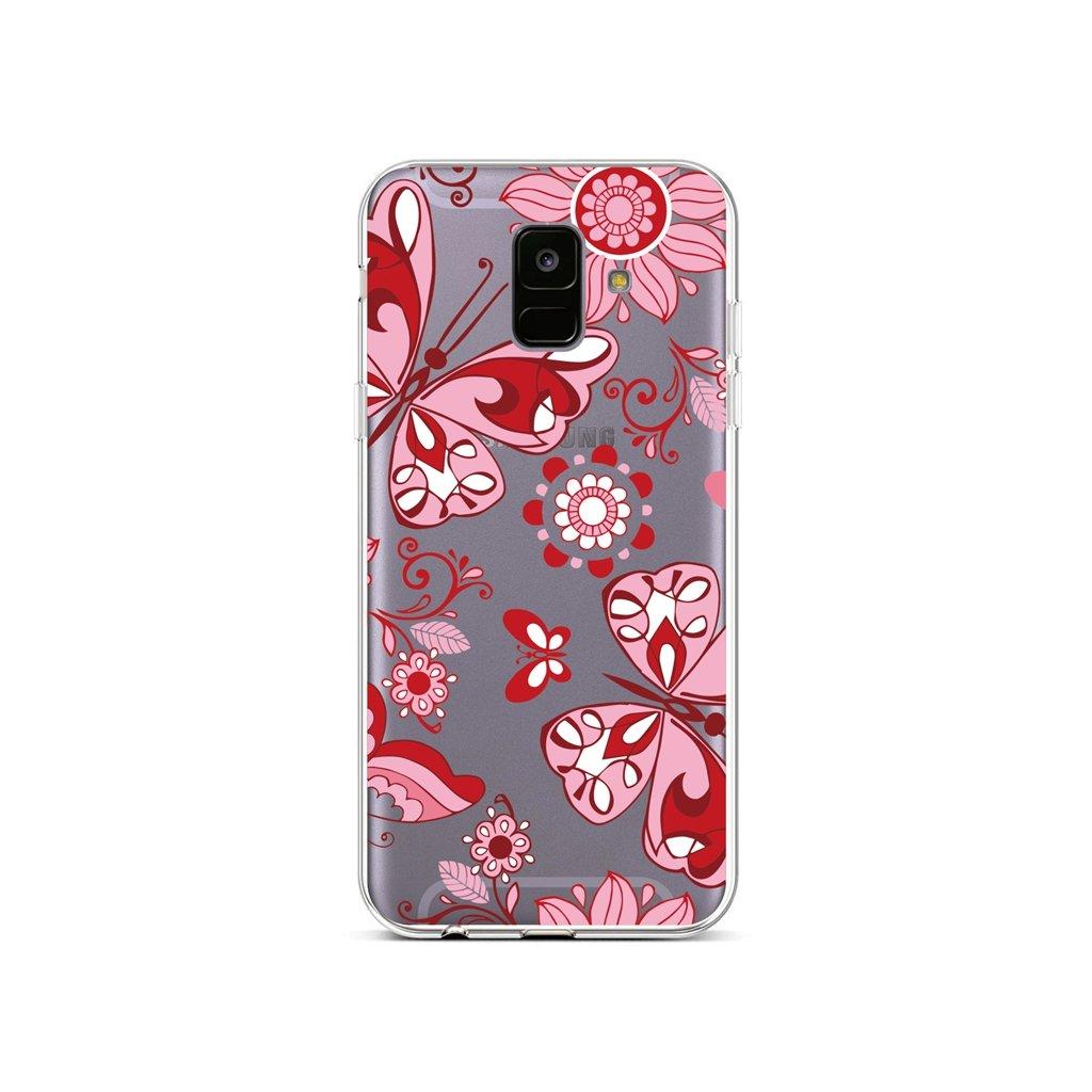 Zadný silikónový kryt na Samsung A6 Pink Butterfly