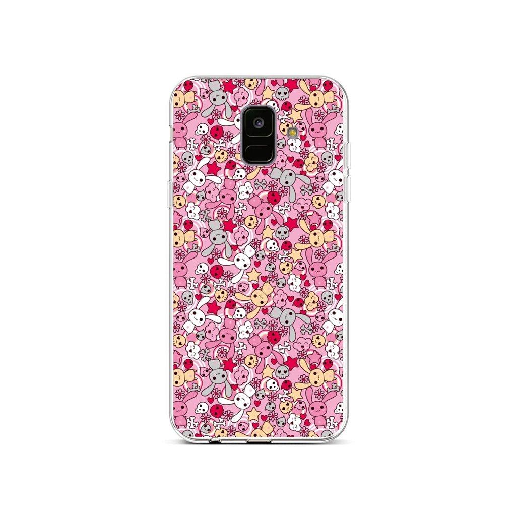 Zadný silikónový kryt na Samsung A6 Pink Bunnies