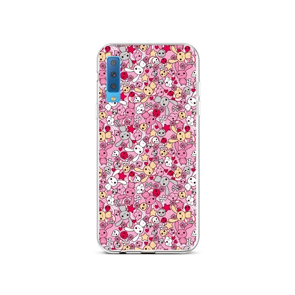 Zadný silikónový kryt na Samsung A7 Pink Bunnies
