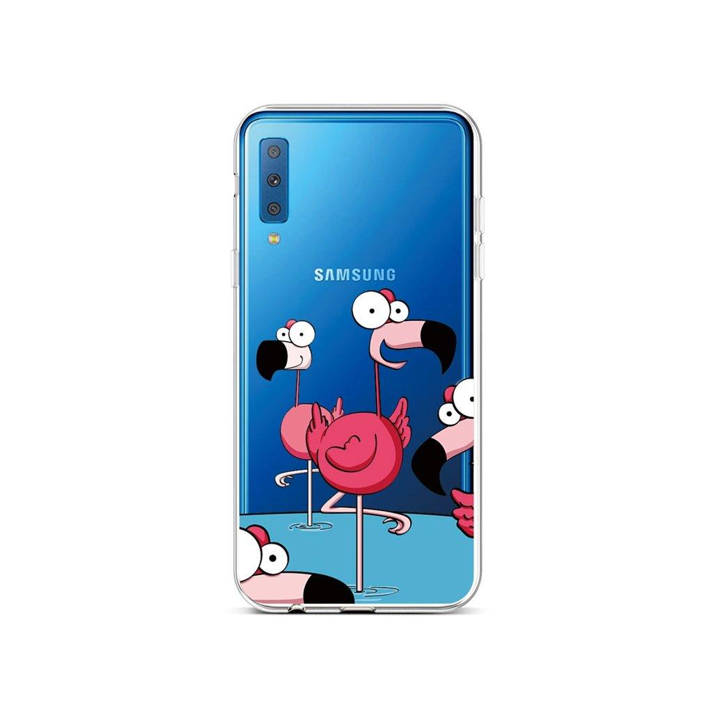 Zadný silikónový kryt na Samsung A7 Cartoon Flamingos