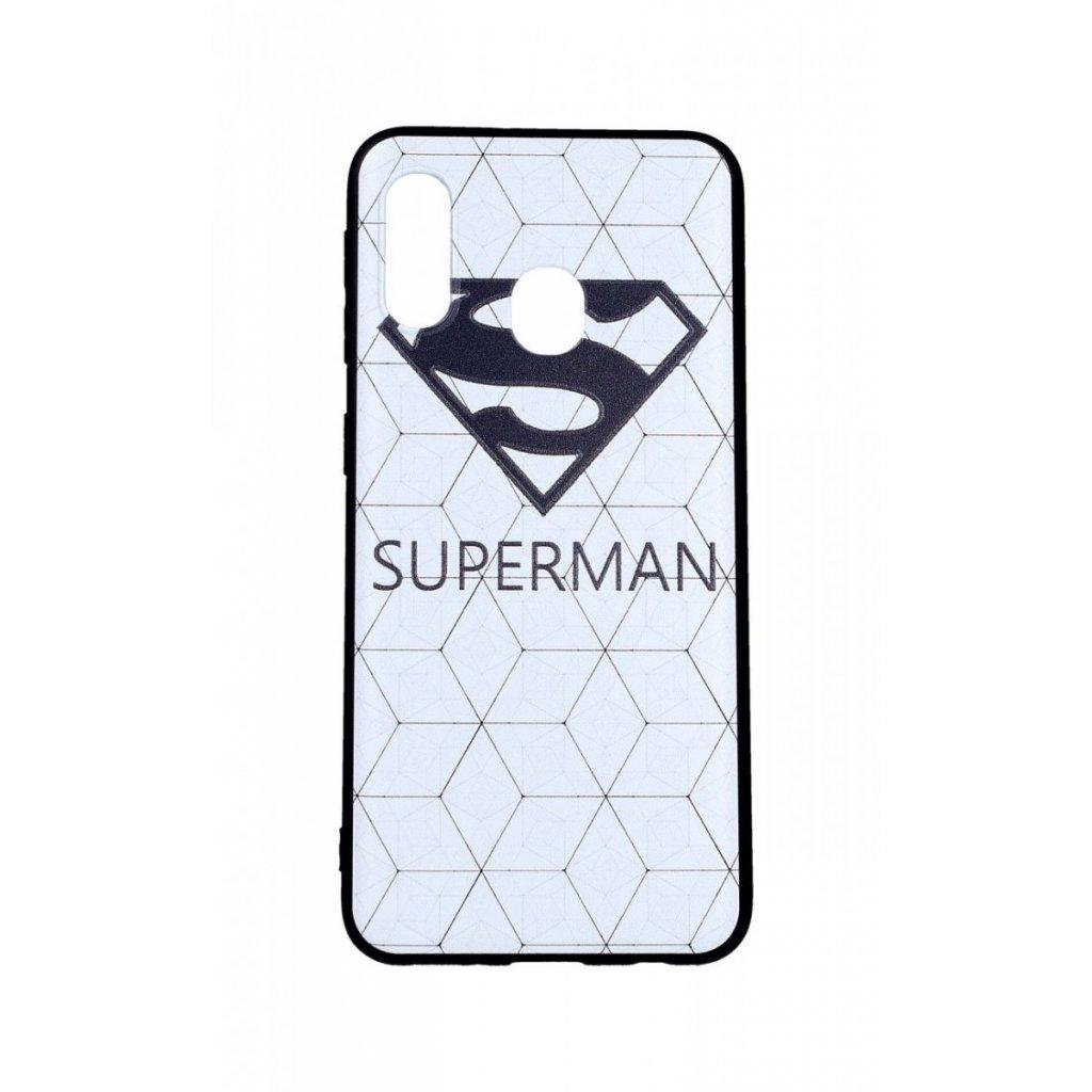 Zadný 3D silikónový kryt na Samsung A20e Biely Superman