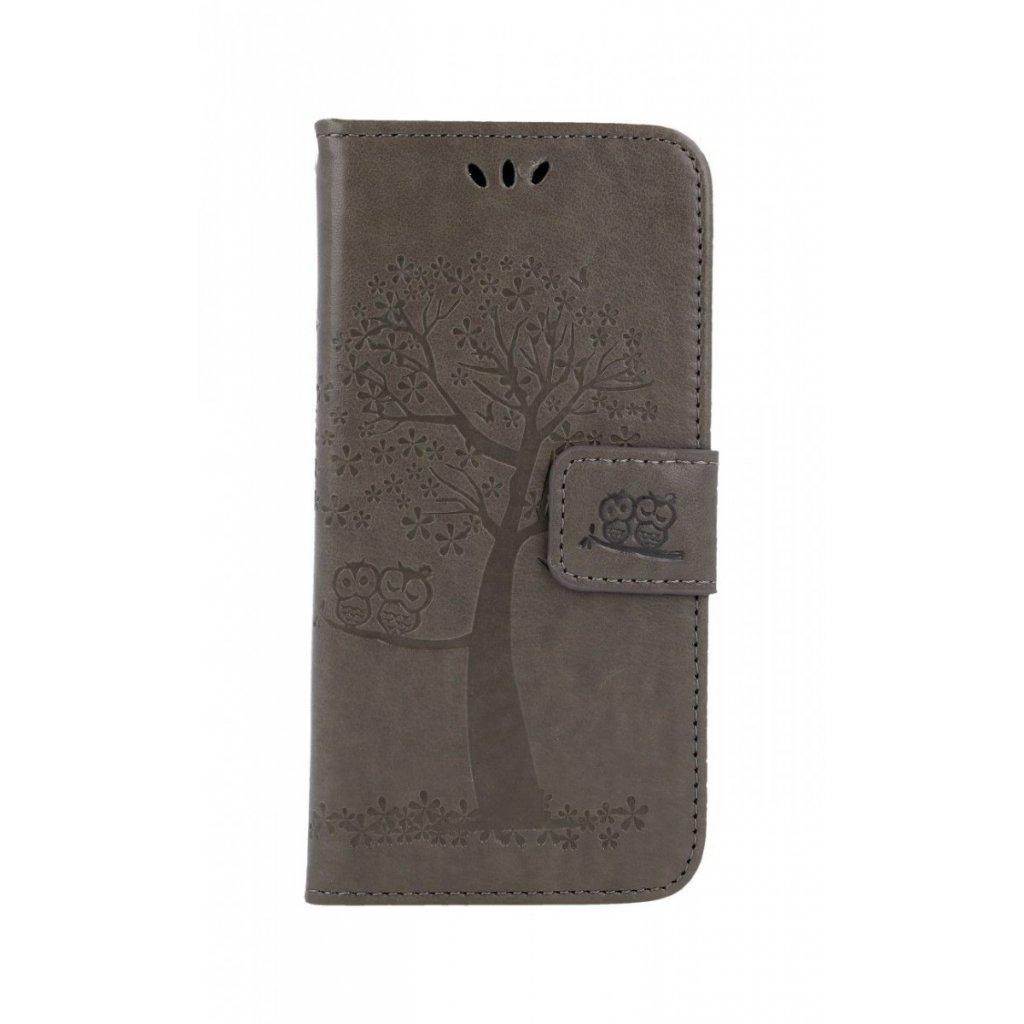 Flipové puzdro na Samsung A20e Sivý strom sovičky
