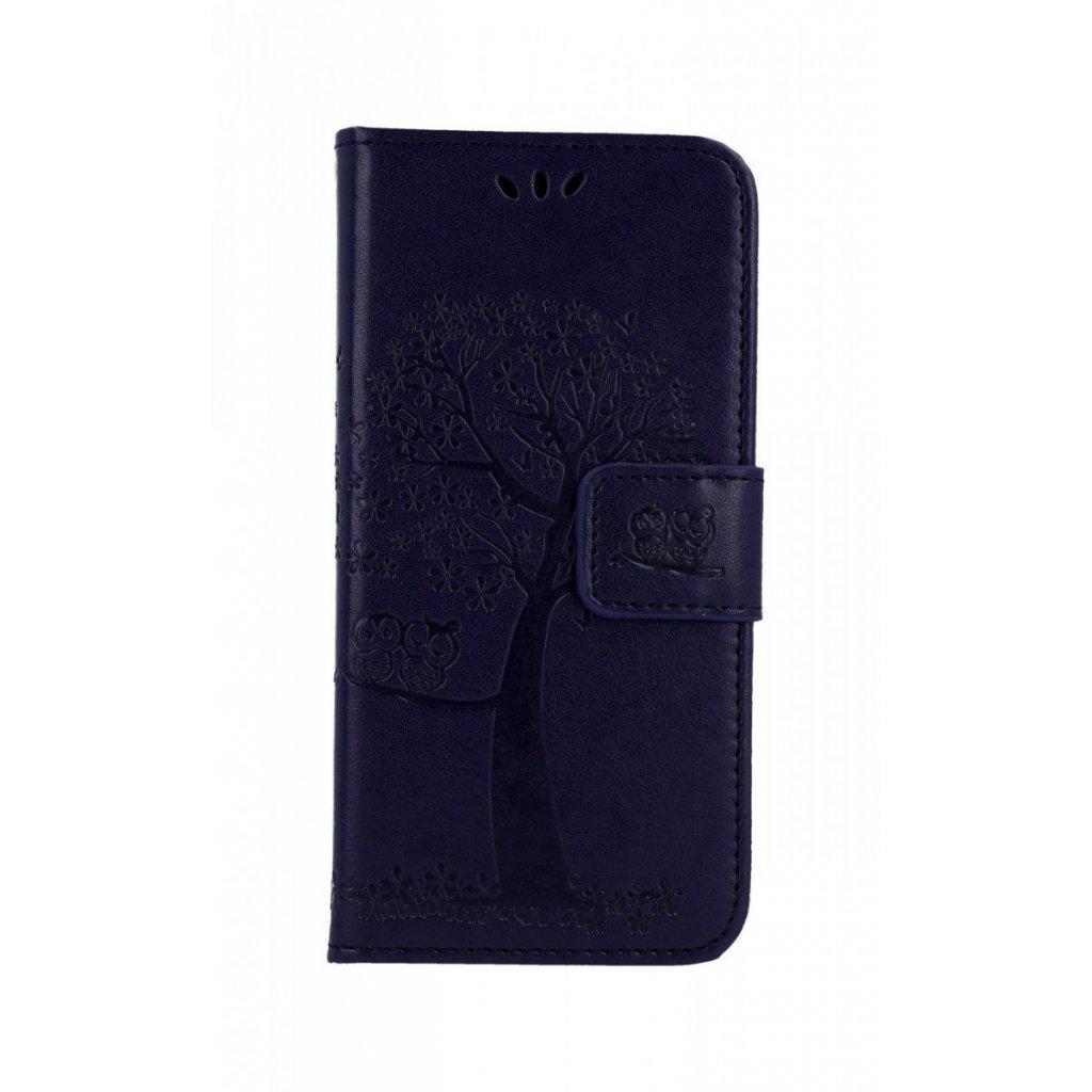 Flipové puzdro na Samsung A20e Tmavo fialový strom sovičky